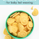 Pinterest image for baby led weaning homemade cheese crackers.
