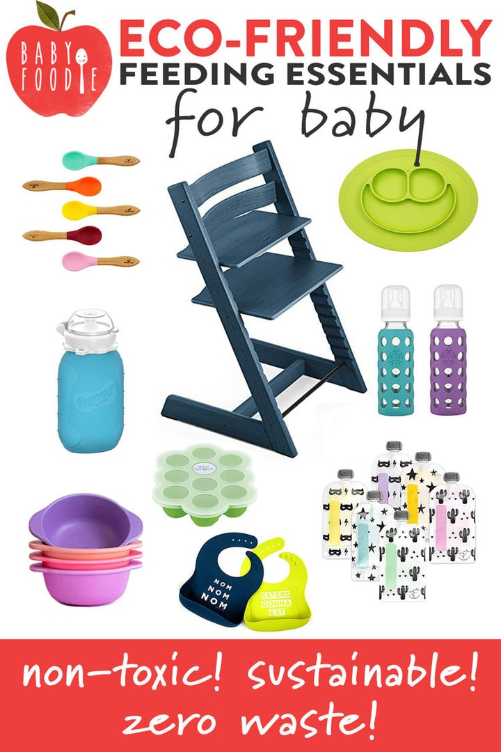 graphic showing products for feeding baby - highchair, pouches, sippy cups, bowls
