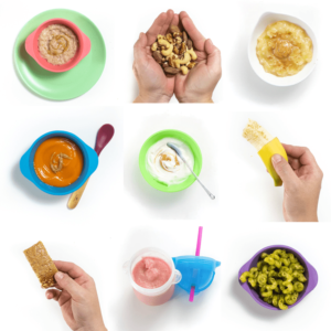 A grid of photos showing the different ways for baby to be introduced to nuts.
