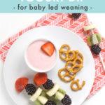 Pinterest image for baby led weaning strawberry yogurt dip.