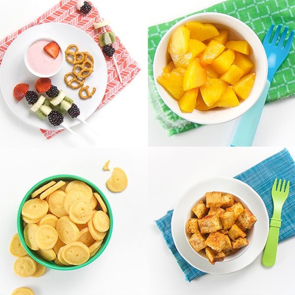 grid of 4 photos - baby led weaning snacks - white bowl of peach chunks, white bowl of tofu nuggets, green bowl filled with yellow cheese crackers, white plate with strawberry dip fruit and pretzels.