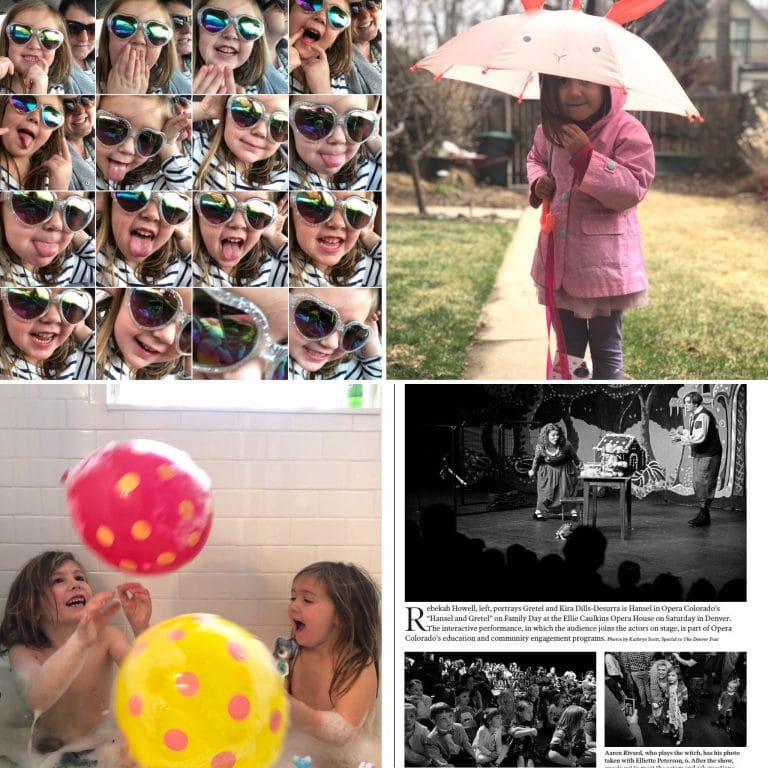 square of four photos that have were taken in March - 1. parker's face in a grid 2. Parker dressed in pink under an umbrella 3. Ellie and Parker in the bath tub with balloons 4. clipping of newspaper with Ellie in it.