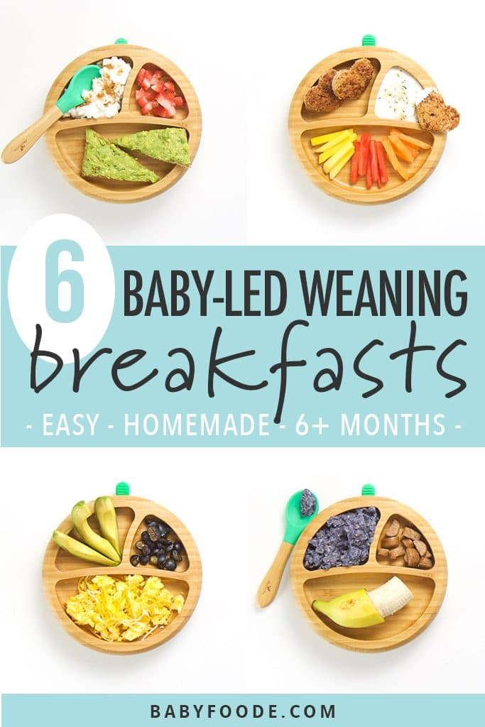 graphic for post - 4 pictures with wooden plates in the middle each one featuring a different finger food breakfast idea