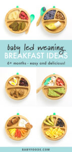 Pinterest collage for a collection of baby led weaning breakfast ideas.