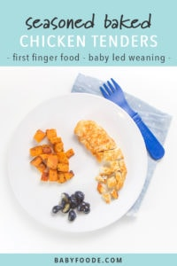 Pinterest image for baby led weaning recipe for baked chicken tenders.