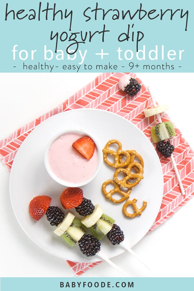 healthy strawberry yogurt dip graphic - round white plate with small white bowl filled with strawberry yogurt dip. Finger food dippers - fruit kebabs and pretzels are on the plate.