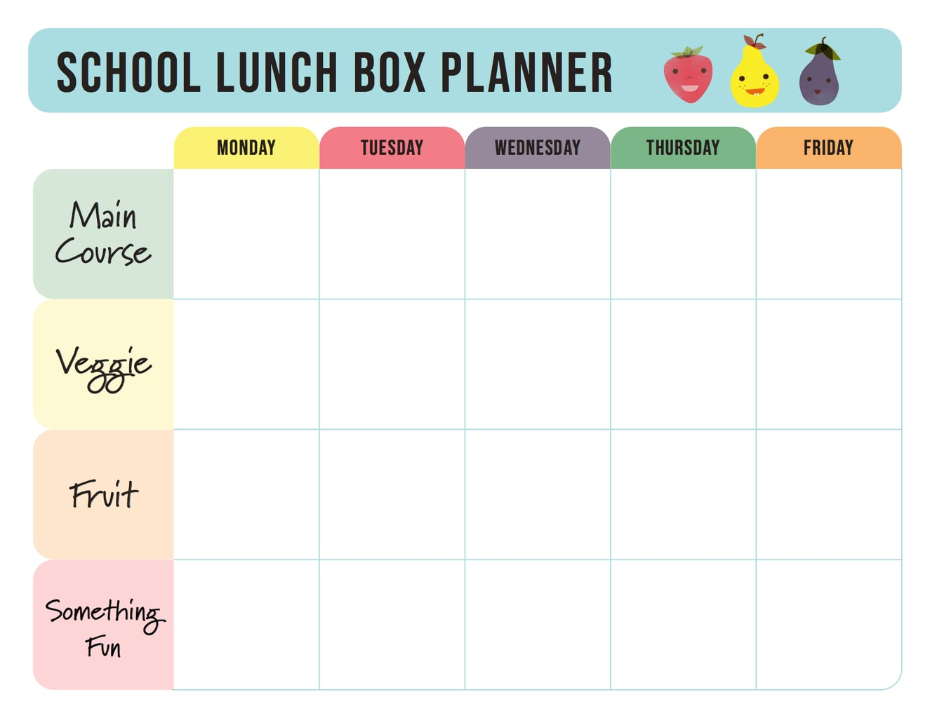 School Lunch Box Planner with categories on the left with main course, veggie, fruit and something fun. Along the top there are the days of the school week - Monday, Tuesday, Wednesday, Thursday and Friday.