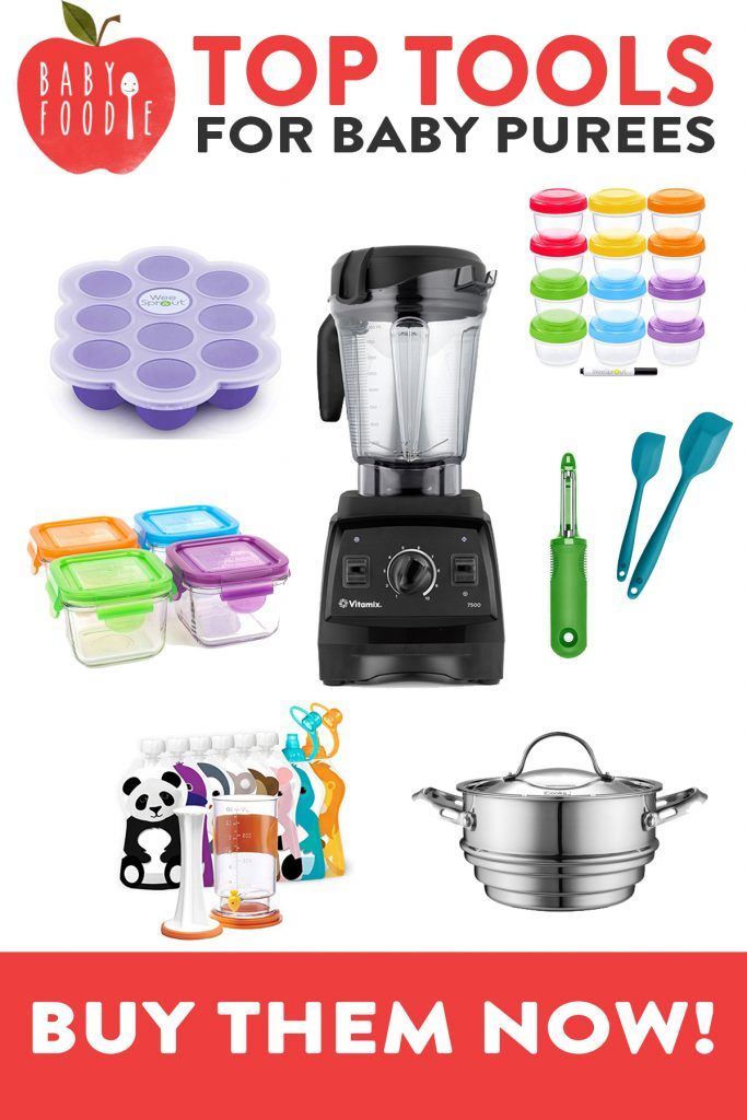 Graphic of my Top Tools for Baby Purees - showing a blender, storage containers, spatula, steamer basket and reusable pouches