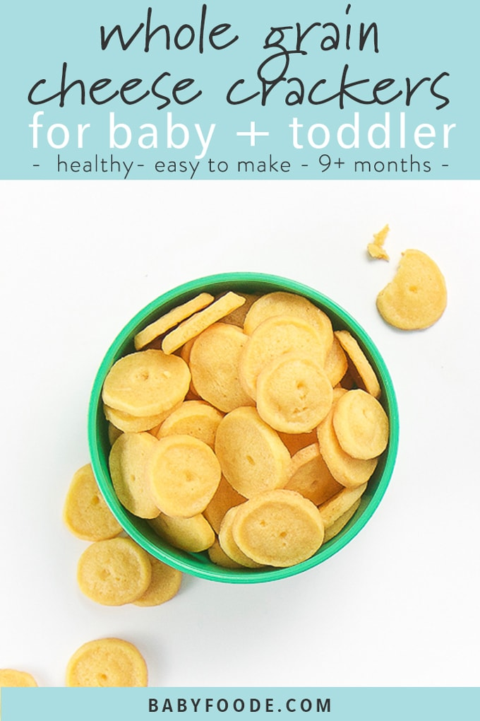 graphic with title - whole grain cheese cracker for baby + toddler - picture under of green bowl filled with yellow cheddar crackers, round with dot in middler spilling out of bowl.
