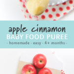 Pinterest image for apple cinnamon stage 1 starter baby food puree.