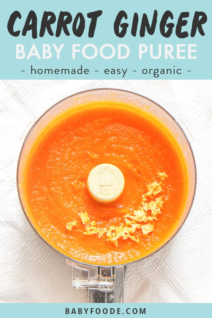 graphic for post - text reads carrot ginger baby food puree - homemade- easy - organic. image is of food processor sitting on a white tablecloth filled with carrot and ginger baby food puree with a sprinkle of freshly chopped ginger on top.