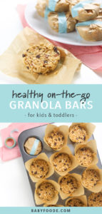 Pinterest image for healthy homemade on-the-go granola bars.