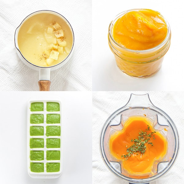 A grid of 4 baby food puree recipes on a white background.