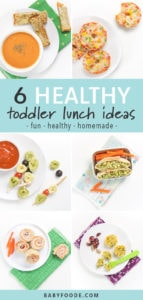 A pinterest image showing a collage of healthy and homemade toddler lunch ideas.