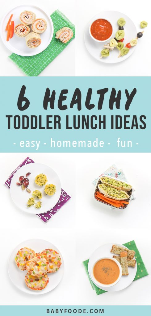 graphic for post - text reads, 6 healthy Toddler lunch ideas - easy - homemade -fun. Image is a grid of the lunches on a white background.