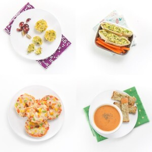 A grid of 4 different toddler lunch ideas against a white background.
