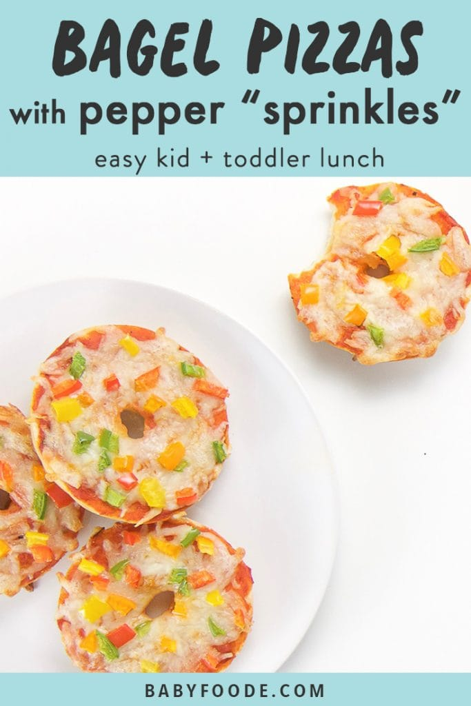 "graphic for post - text reads bagel pizzas with pepper ""sprinkles"" easy kid+toddler lunch. Image is of a round white plate sitting on a white surface. On the plate are 3 mini bagel pizzas and there is one bagel pizza sitting on the surface with a bite taken out."