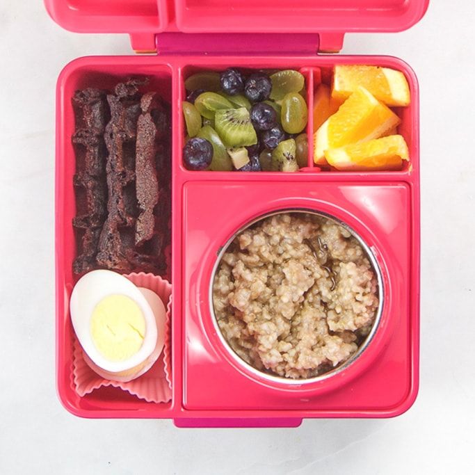 Pink school lunch box filled with breakfast for lunch. kids love this school lunch!