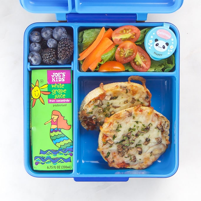Blue school lunch box filled with pizza and a salad - a kid favorite.