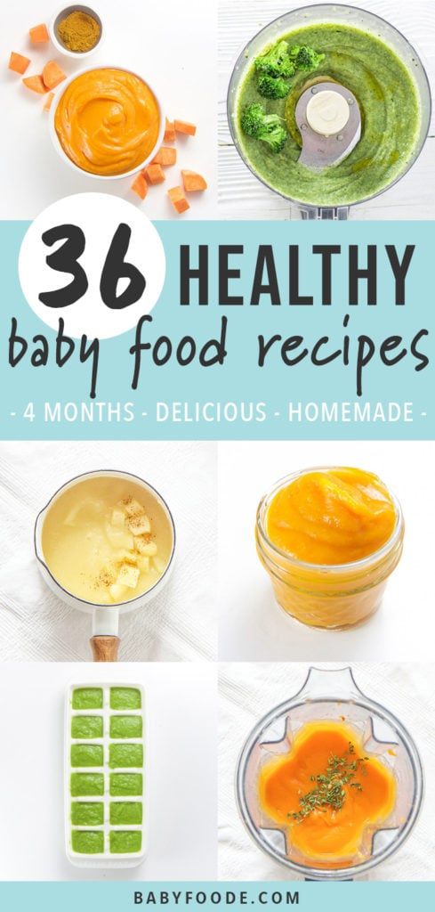 Pinterest image for a collection of healthy and homemade baby food recipes.