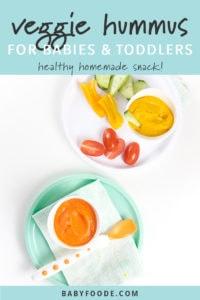 Pinterest image for homemade veggie hummus recipe.