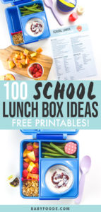A graphic for the post 100 school lunch ideas for kids with 2 spreads of a free printable with a bento box in the middle of packing and another photo of the finished bento box.