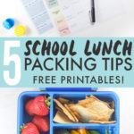 Graphic for post - 5 School Lunch Packing Tips - Free Printables! Images is of a lunch planner and also of a finished packed school lunch.