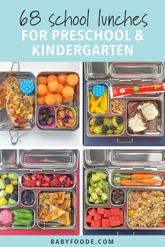 Graphic for post - 68 school lunches for preschoolers and kindergarteners with a grid of images with school lunches.