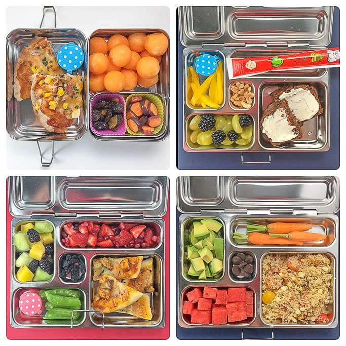 4 school lunches in a grid.
