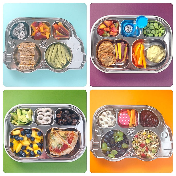 A grid of 4 bento boxes filled with healthy and colorful school lunches.