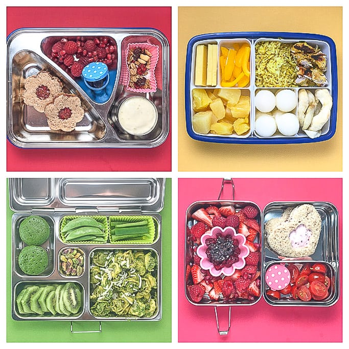 4 colorful and healthy school lunches for toddlers and preschoolers.