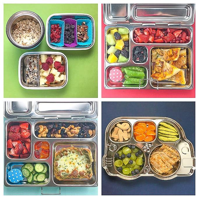 4 different healthy school lunch ideas for kindergarten and preschoolers.
