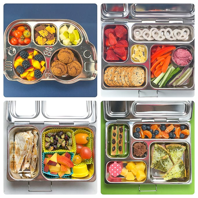 4 different bento school lunches for kids in a grid against different colored backdrops.