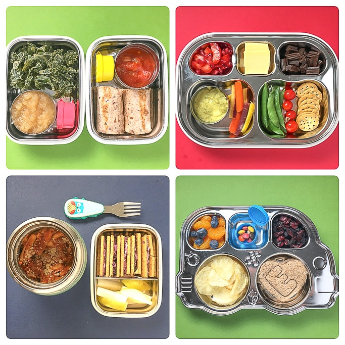 4 different school lunch ideas for toddlers and kids.