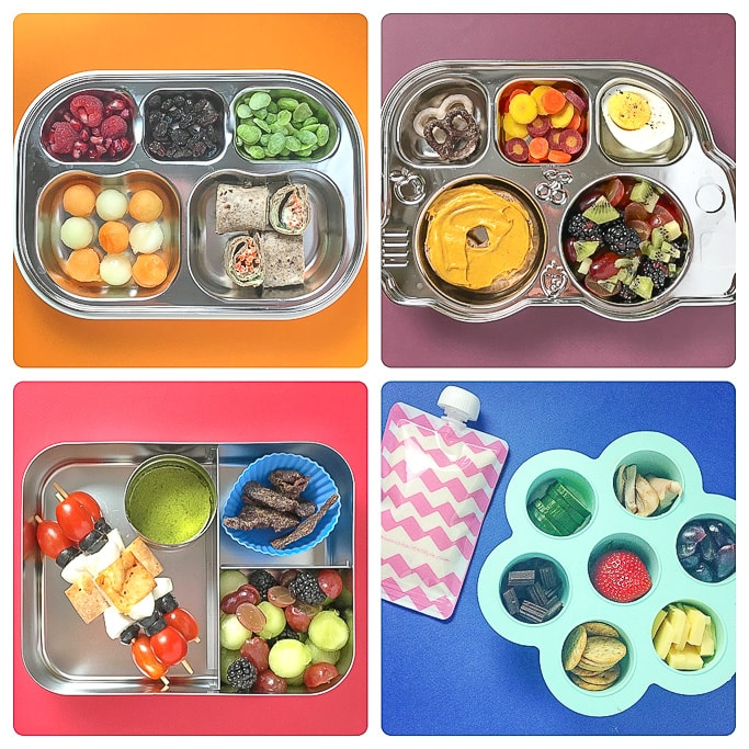 4 bento boxes packed with healthy school lunch ideas for toddlers and kids.