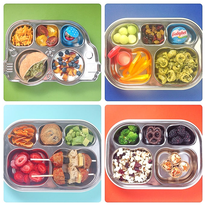 4 school lunch ideas in a grid against colorful backdrops.