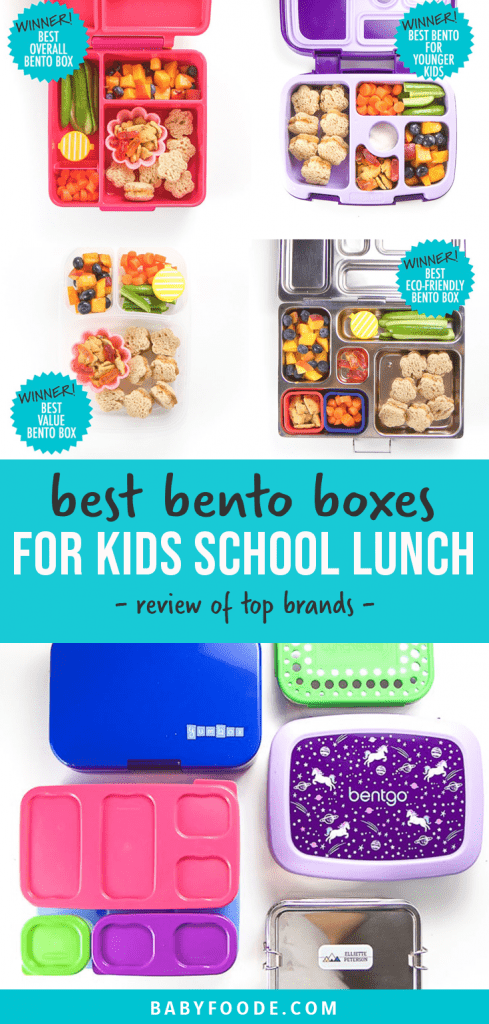 Graphic for Post - best bento boxes for kids school lunch. full review of top brands. With images of packed bento and a spread of the top brands.