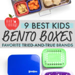 Graphic for The Best Bento Boxes for Kids - favorite tried-and-true brands with images of an open bento box and a spread of closed boxes.