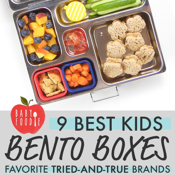 Graphic for The Best Bento Boxes for Kids - favorite tried-and-true brands with images of an open bento box with a healthy lunch inside.