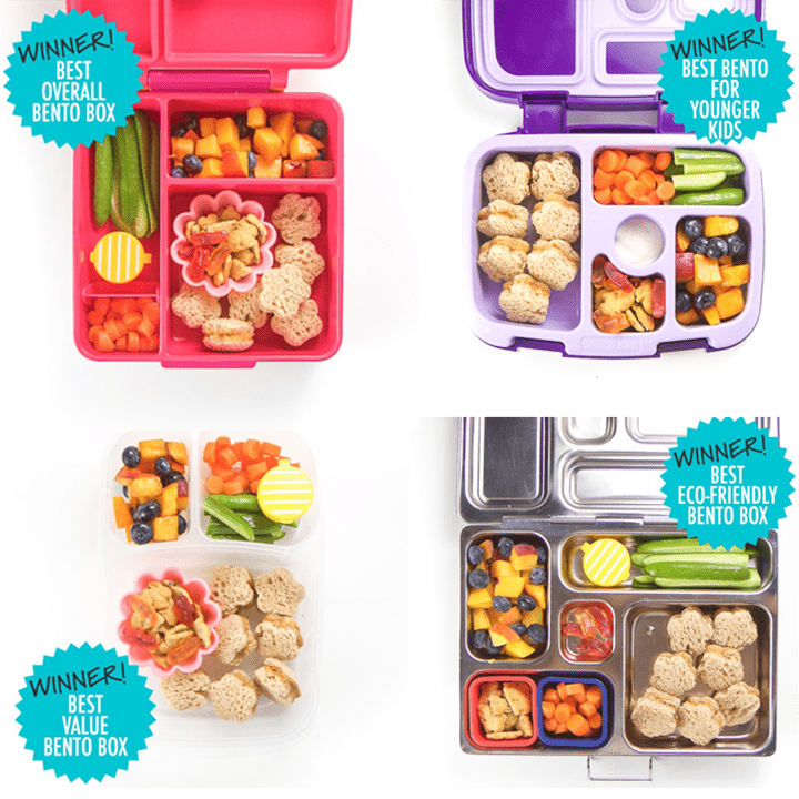 A grid of the best bento boxes for kids winners.