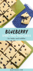 Pinterest collage for blueberry sheet pan pancakes recipe.