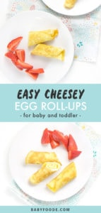 Pinterest image for cheese egg roll-ups.