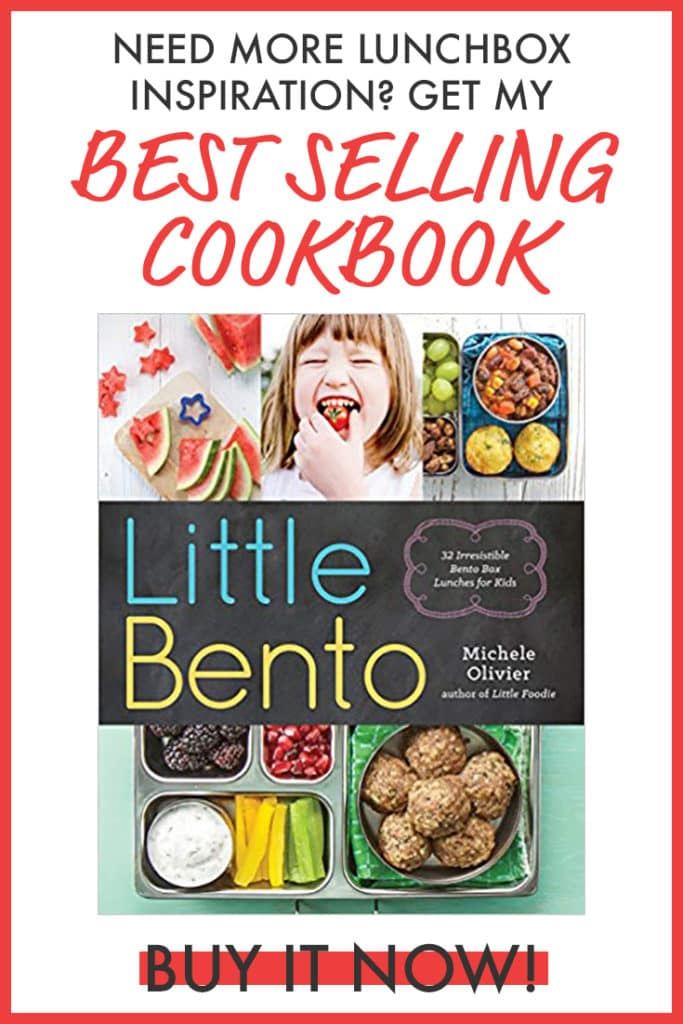 Graphic for best-selling cookbook - Little Bento. Picture of book cover and text.