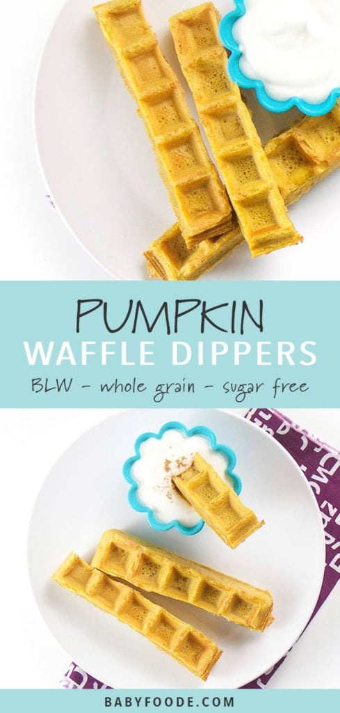 Pinterest collage for pumpkin waffle dippers recipe.