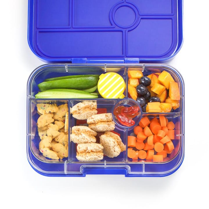 Blue 5-section bento box filled with healthy and colorful food.