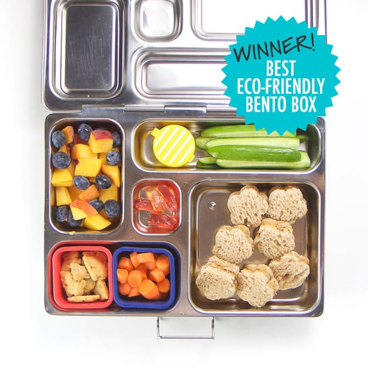 Silver planet box for kids full of lunch - winner of the best eco-friendly bento box.