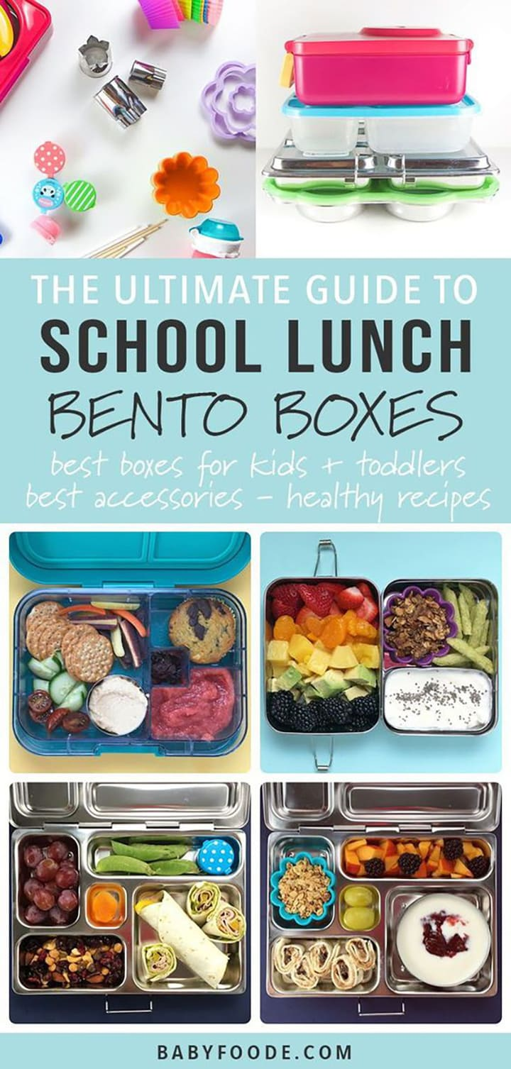 A graphic for the Ultimate Guide to School Lunch Bento Boxes - best boxes for kids + toddlers, best accessories and healthy recipes with a grid of photos for both bento boxes and lunches.