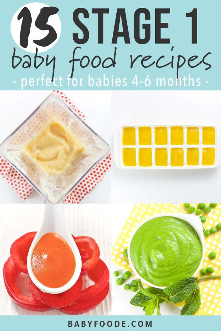 graphic for 15 stage one baby food recipes with images of cooked baby food.