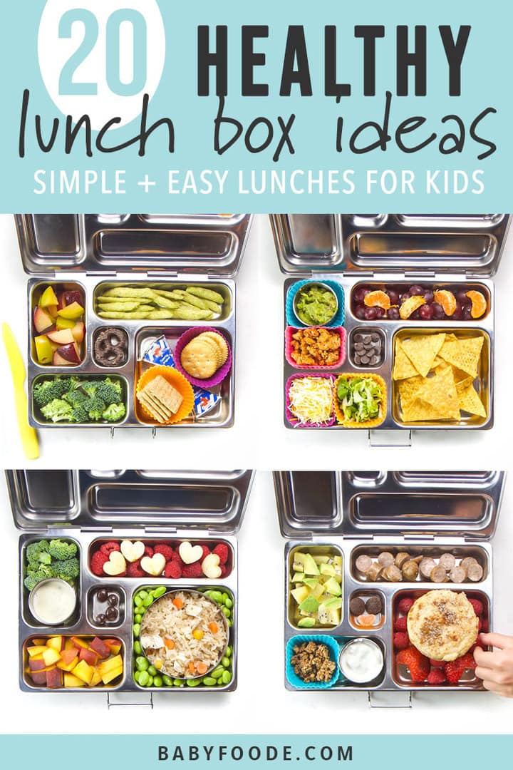 A grid of photos of bento boxes filled with healthy school lunches for kids.