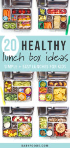 A grid of photos filled with bento boxes filled with school lunches for kids.